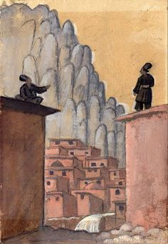 Jāzeps GROSVALDS | Latvian | Latvia 1891 – Paris, France 1920 | Post-Impressionism, Modernism.  Kurds on the Roof, 1916