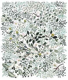 Apple Blossom Meadow, 2010, 31 x 36 cm.   Summer sounds like emerald green birch tree leaves,   snow as apple tree flowers and scent of clover. By Anna Emilia