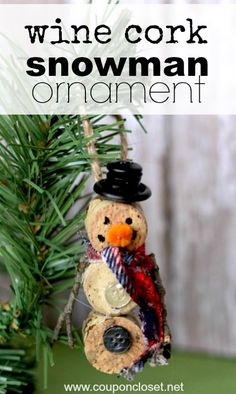 All you need is some left over scraps and a wine cork to make an adorable snowman ornament. The kids just love this homemade Christmas ornament.