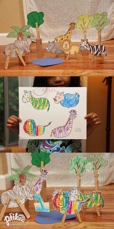 Clothespin Jungle. An Original #kids #craft by www.piikeastreet.com #piikeastreet