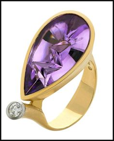 This Atelier Munsteiner icicle-cut amethyst diamond ring in gold has the most interesting stone.