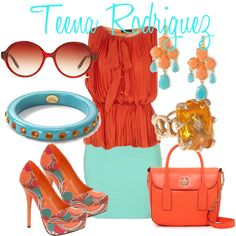 Orange and Turquoise- By Teena Rodriguez