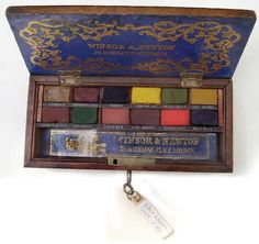 Antique Winsor & Newton watercolor box;   What a splendid color palette….