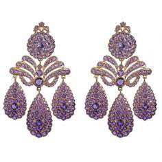 Sylvie Corbelin Amethyst Chandelier Earrings ($9,000) ❤ liked on Polyvore featuring jewelry, earrings, amethyst jewellery, earring jewelry, amethyst jewelry, chandelier jewelry and amethyst earrings