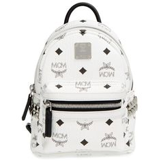 Women's Mcm 'X-Mini Stark Side Stud' Convertible Backpack (2.820 RON) ❤ liked on Polyvore featuring bags, backpacks, mcm, white, mini shoulder bag, crossbody backpack, mini crossbody bag, convertible backpack shoulder bag and convertible crossbody backpack