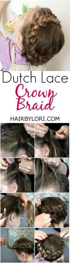 Video Tutorial: Dutch Lace Crown Braid is sweet and beautiful. This crown braid combines the dutch and lace braid techniques. Short Hair Updo, Short Wedding Hair, Braids For Long Hair, Updo Hairstyle, Hairstyle Ideas, Hair Ideas, Cool Hairstyles For Girls, Kids Braided Hairstyles, Girl Hairstyles