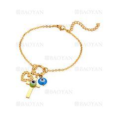 pulsera con dijes de ojos suertes de dorado en acero para mujer-SSBTG1094343