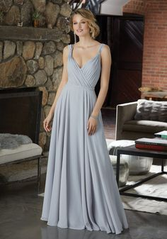 Figure Flattering Chiffon Bridesmaid Dress with Beaded Detail