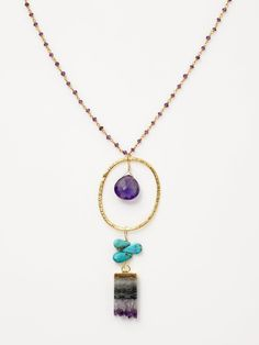 Alanna Bess Jewelry Turquoise & Amethyst Pendant Necklace