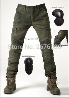 81.70$  Buy now - http://ali6bn.worldwells.pw/go.php?t=32751634253 - Free Shipping New Uglybros MOTORPOOL UBS06 Women Jeans Motorcycle Riding Pants Jeans Army Green With Protection 81.70$