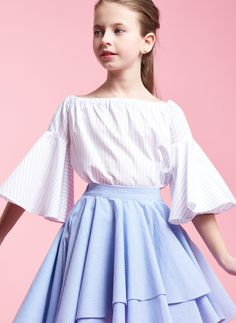 Airfish Chelsea Bell Sleeve Top in White Stripe