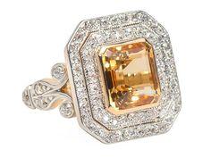 Regalia - Art Deco Topaz Diamond Ring - The Three Graces