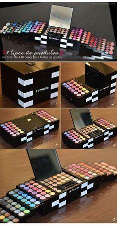 MakeUp a super palette from Sephora Color Daze. Sephora Eyeshadow, Sephora Makeup Kit, Mac Eyeshadow Palette, Matte Eyeshadow, Make Up Palette, Makeup Storage, Makeup Organization, Makeup Case, Sephora Makeup