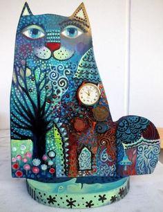 Painting by Oxana Zaika (France) Animal Gato, Frida Art, Colorful Animals, Art Original, Cat Colors, Cat Drawing, Crazy Cats, Cat Art, Sculpture Art