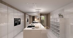 Cocina modelo laminado blanco brillo y encimera silestone blanco.  La amplitud de esta cocina permite incluir un bloque central o isla y muebles de cocina en los laterales.