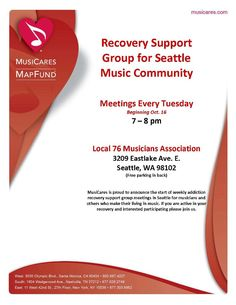 Seattle recovery group for musicians. Tuesdays at 7:00PM