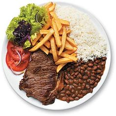 Typical Brazilian everyday food. Rice, beans, beef (or some sort of meat), chips, lettuce, tomato and onion. / Típico prato brasileiro: Arroz, feijão, bife, batata frita e salada de alface, tomate e cebola .