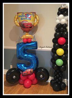 Cars themed 5th birthday www.elegant-balloons.com