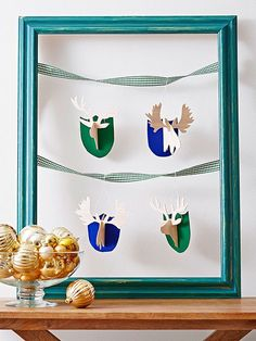 These faux taxidermy ornaments are a cute way to capitalize on the antler decor trend. Trace the shapes onto balsa wood. Paint background as desired. Use a knife to cut out holes as marked, and assemble each animal. Hang with embroidery floss.