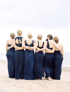 Classic Chicago History Museum Wedding - Love this picture of the bridesmaids taken from behind: www. Beach Wedding Bridesmaids, Navy Blue Bridesmaid Dresses, Wedding Beach, Wedding Navy, Navy Bridesmaids, Dress Wedding, Bridesmaid Inspiration, Wedding Inspiration, Wedding Ideas