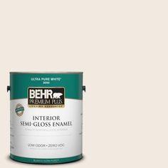 Bathroom/ kitchen cabinets BEHR Premium Plus 1-gal. #1812 Swiss Coffee Semi-Gloss Enamel Interior Paint - 305001 - The Home Depot