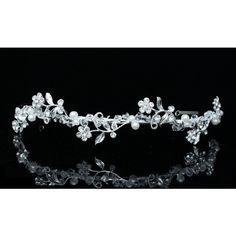 Flower Rhinestone Crystal Pearl Bridal Wedding Prom Headband Tiara ($23) ❤ liked on Polyvore featuring accessories, hair accessories, rhinestone tiara, bridal tiara, pearl headband, crystal headband and rhinestone headband