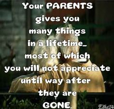 This picture describes the realization of having parents. Often we do not get along with our parents and do not want to accept what they try to teach us. One day we will learn that those things that they taught us are the most important things. Sometimes the worst things have to happen for us to realize that what we had was the best.