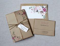 Floral Wedding Invitation. Rustic Wedding by LoveofCreating