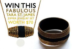 James Zipper Necklace and Cuff Giveaway Diy Zipper Jewelry, Diy Jewellery, Fashion Jewelry, Green Building, Giveaway, Sew, Beaded Bracelets, Craft Ideas, Pendant