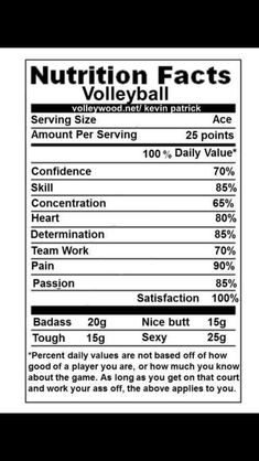 "Volleyball ""Nutrition Facts"""