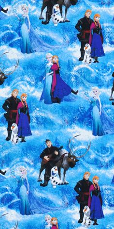 Springs Creative Disney Frozen Character Scenic Fabric including Anna, Elsa, Kristoff, Olaf and Sven Frozen Elsa And Anna, Disney Frozen Elsa, Disney Pixar, Elsa Anna, Elsa Olaf, Frozen Movie, Frozen Party, Olaf Character, Frozen Fabric