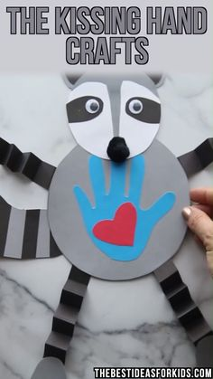 Aug 2019 - 3 Kissing Hand Crafts with free printable templates. Make a stand-up clothespin raccoon, a raccoon handprint card or a wiggly Chester the raccoon! Kissing Hand Preschool, Kissing Hand Crafts, Kissing Hand Activities, Activities For Kids, Spanish Activities, Winter Crafts For Kids, Diy Crafts For Kids, Fun Crafts, Paper Crafts