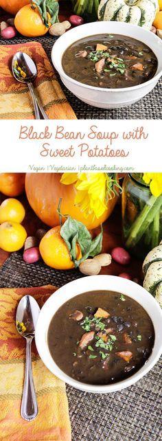 Black Bean Soup with Sweet Potatoes #plantbased #vegan #wfpb