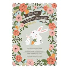 Bunny Love Baby Shower Invite Personalized Invitation