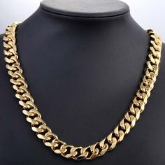HEAVY 15 MM 18-36 INCH CUSTOMIZE Gold Tone Curb Stainless Steel Necklace