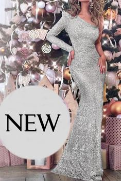 Buy Fleepmart One Shoulder Silver Sequined Maxi Dress Back Split One Sleeve Night Party Dress Striped Sequins Backless Long Dress at fleepmart.com! Free shipping to 185 countries. 45 days money back guarantee.