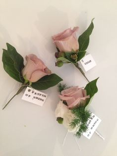 Dusky pink, mink coloured rose buttonholes. Surrey wedding flowers by Boutique Blooms floral design.