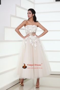 Darling Strapless Appliqued Ruched Pleated Tulle Tea Length Princess Dress $230.00