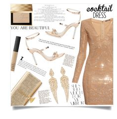 """""""Nude & gold chic"""" by anchilly23 ❤ liked on Polyvore featuring Balmain, Sophia Webster, Rika, Yves Saint Laurent, NARS Cosmetics, Stephen Webster and Burberry"""