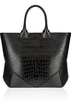 Croc-embossed leather shopper. Givenchy