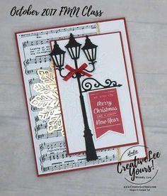 Today I am sharing one of the fun Christmas cards we made at my October 2017 FMN class featuring the Brightly Lit Christmas bundle. Die Cut Christmas Cards, Diy Holiday Cards, Homemade Christmas Cards, Stampin Up Christmas, Christmas Greeting Cards, Christmas Greetings, Handmade Christmas, Homemade Cards, Christmas Lamp Post