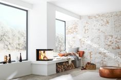 ▷ Kamin und Kaminofen – Funktionen, Kauftipps, Modelle Fireplace with three glazed windows by Brunner Home Fireplace, Modern Fireplace, Fireplace Design, Fireplaces, Kitchen Living, Home Living Room, Living Spaces, Sweet Home, Model Homes