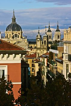 View towards snowy mountains - Madrid, Spain