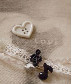 boutons coeur, note de musique Mariage noir et blanc   Mercerie Créative - Couture Facile I Paritys