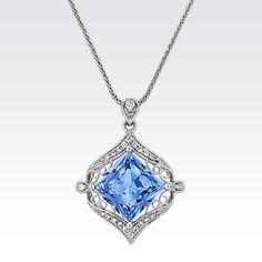 Princess Cut Kentucky Blue Sapphire and Round Diamond Vintage Pendant Blue Eyed Baby, Diamond Pendant Necklace, Princess Cut Diamonds, Vintage Diamond, Round Diamonds, Blue Sapphire, Jewelry Stores, Kentucky, Fine Jewelry