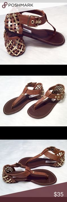 Steve Madden Sandals Steve Madden Sandals in gold and brown with a caged heel. Size 6. New without tags, never worn. Steve Madden Shoes Sandals