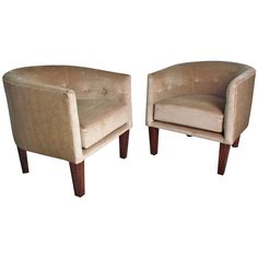 Directional Barrel Chairs: Kip Stewart Faux Ostrich Leather and Velvet USA   Mid-Century Modern     c1960's