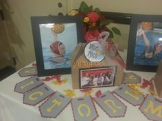senior gift table at water polo banquet.  letter cuts done with cricut & creative memories cutter.