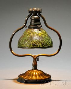 Tiffany Studios Table Lamp   Blown glass and verdigris bronze   New York, early 20th century