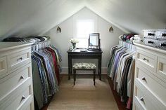 A Country Farmhouse; great use of an odd space for an organized closet